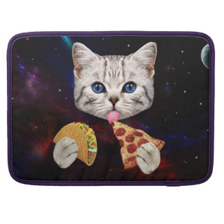 Space Cat with taco and pizza MacBook Pro Sleeves