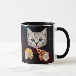 Space Cat with taco and pizza Mug