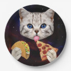 Space Cat with taco and pizza Paper Plate