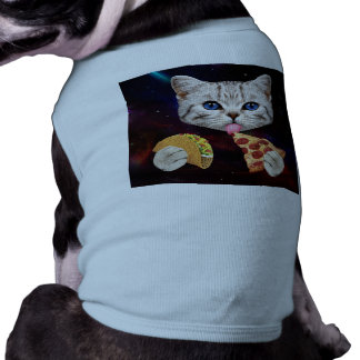 Space Cat with taco and pizza Pet Tee