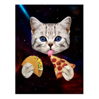 Space Cat with taco and pizza Postcard