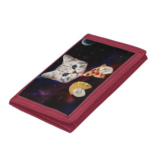 Space Cat with taco and pizza Tri-fold Wallet