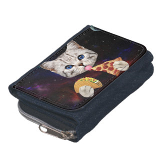 Space Cat with taco and pizza Wallet