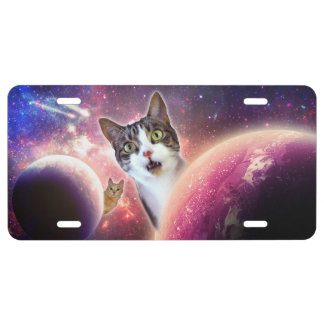 Space Cats LOL Funny License Plate