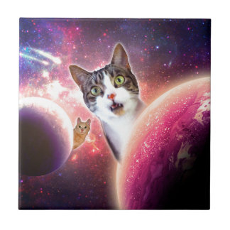 Space Cats LOL Funny Tile