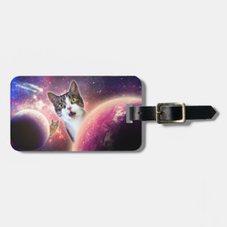 """""""Space Cats"""" LOL Luggage Tag w/ leather strap"""