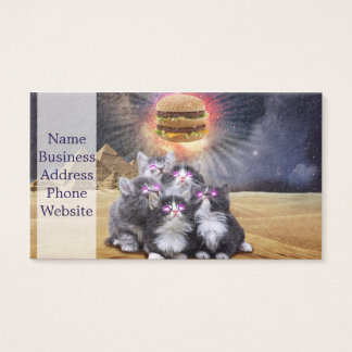 space cats looking for the burger business card