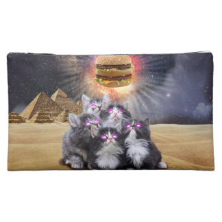 space cats looking for the burger makeup bags