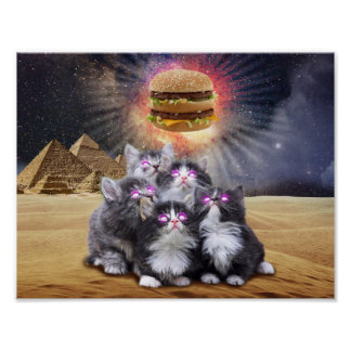 space cats looking for the burger poster