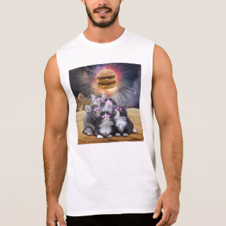 space cats looking for the burger sleeveless shirt