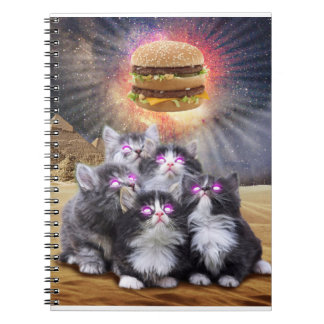 space cats looking for the burger spiral note book