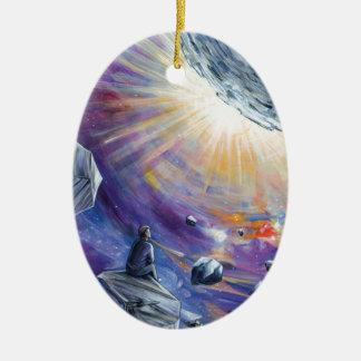 Space Ceramic Oval Ornament