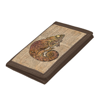 Space Chameleon Zentagle Dictionary Art Trifold Wallets