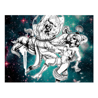 Space Chick and Octopus postcard