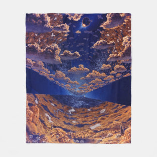 Space Colony Artwork Fleece Blanket