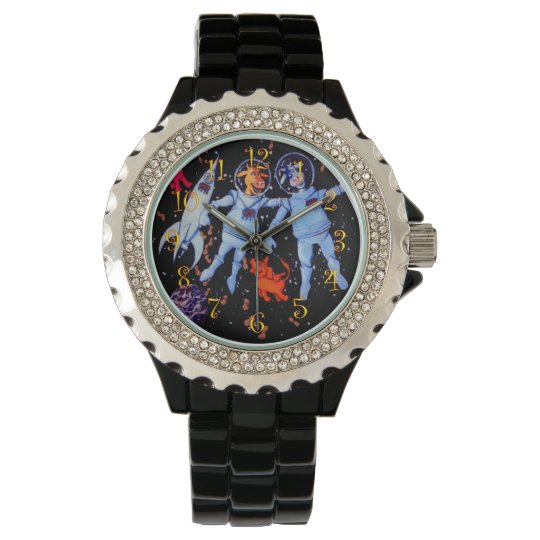 Space Cows and Space Elephants Wrist Watch