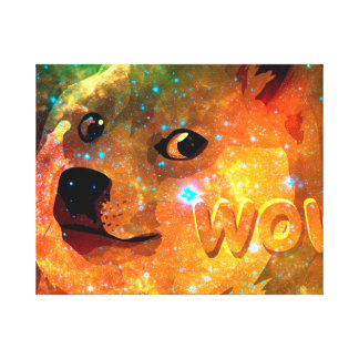 space - doge - shibe - wow doge canvas print