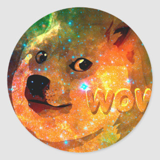 space - doge - shibe - wow doge classic round sticker