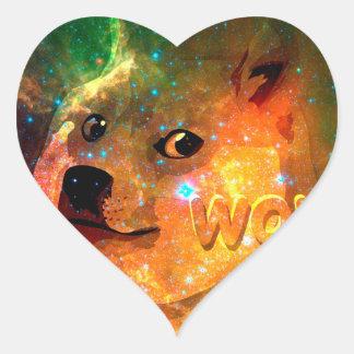 space - doge - shibe - wow doge heart sticker