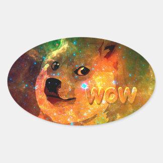 space - doge - shibe - wow doge oval sticker