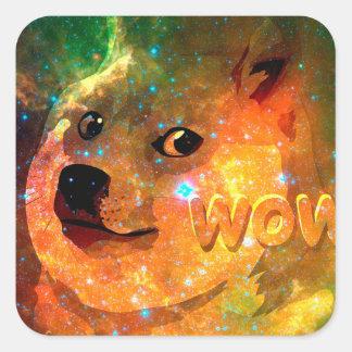 space - doge - shibe - wow doge square sticker