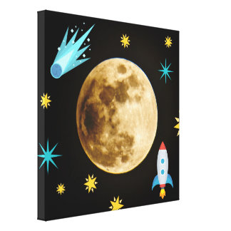 Space Emojis and Moon Canvas Print