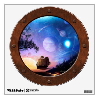 Space Exploration Voyager Steampunk Porthole Wall Sticker
