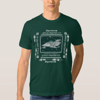 Space Fighter 67 Stars Green T-shirt