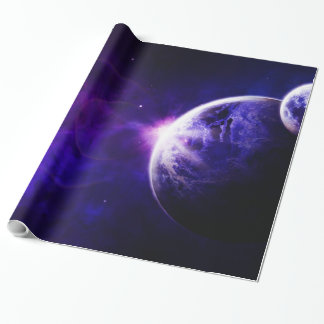 Space Galaxy Planets Stars in Purple Blue Tones