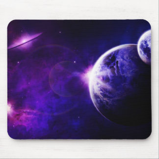 Space Galaxy Planets Stars in Purple Blue Tones Mouse Pad