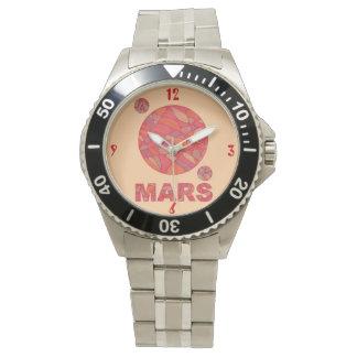 Space Geek Art Mars Red Planet Science Wrist Watch