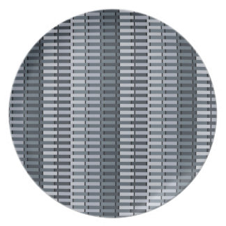 Space Gray Contemporary Stripe Pattern Plate