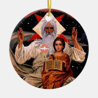 Space Jesus Round Ceramic Ornament