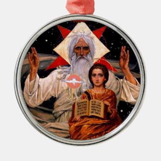 Space Jesus Silver-Colored Round Ornament