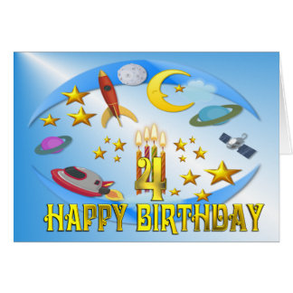 Space Journey 4th, . Birthday Card
