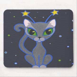 """""""space kitty"""" black mousepad"""