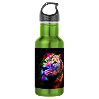 Space lion - colorful lion - lion art - big cats 532 ml water bottle