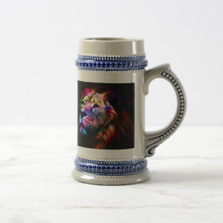 Space lion - colorful lion - lion art - big cats beer stein