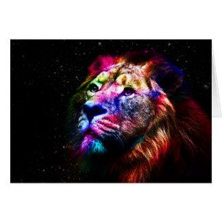 Space lion - colorful lion - lion art - big cats card