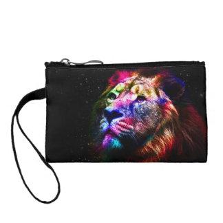 Space lion - colorful lion - lion art - big cats coin purse