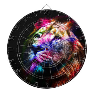Space lion - colorful lion - lion art - big cats dartboard
