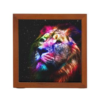 Space lion - colorful lion - lion art - big cats desk organizer