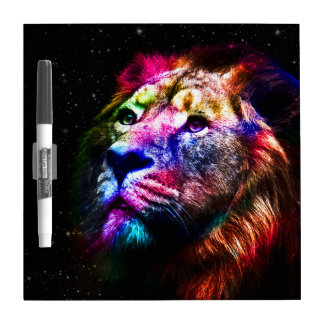 Space lion - colorful lion - lion art - big cats dry erase board