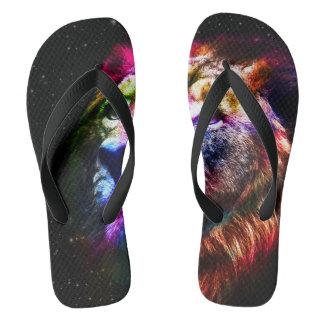 Space lion - colorful lion - lion art - big cats flip flops