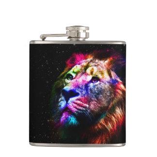 Space lion - colorful lion - lion art - big cats hip flask