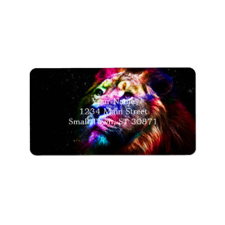 Space lion - colorful lion - lion art - big cats label