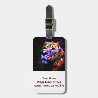 Space lion - colorful lion - lion art - big cats luggage tag