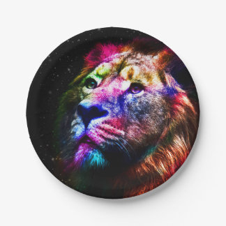 Space lion - colorful lion - lion art - big cats paper plate