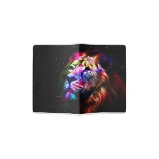 Space lion - colorful lion - lion art - big cats passport holder