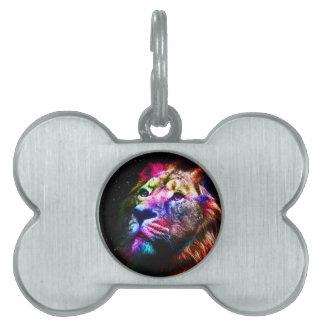 Space lion - colorful lion - lion art - big cats pet ID tag
